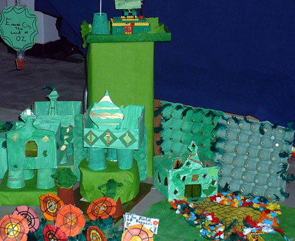 Art construction including models, buildings and papier maché